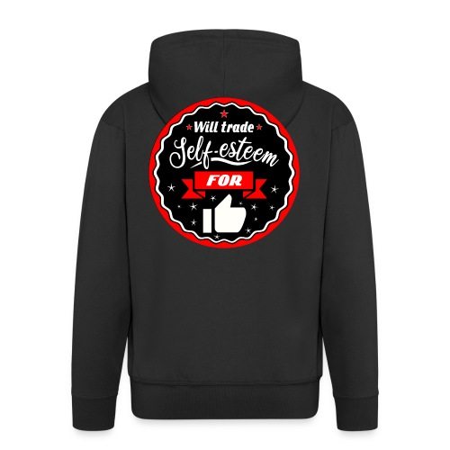 Trade self-esteem for likes (inches) - Men's Premium Hooded Jacket