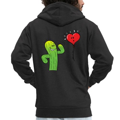 Cactus Flirting with a Heart Balloon - Men's Premium Hooded Jacket