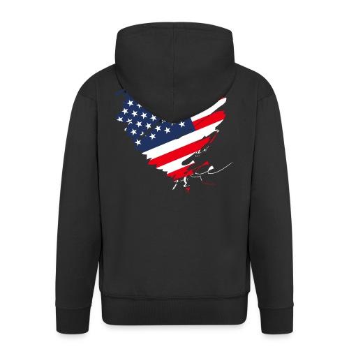 USA Amerika Sterne und Streifen Herz Grunge Flagge - Men's Premium Hooded Jacket