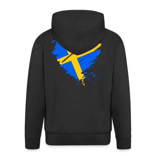 Schweden Skandinavien Europa Fahne Grunge Herz - Men's Premium Hooded Jacket