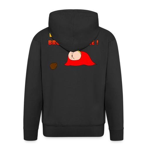 Flying Bum (diagonal) - with text - Men's Premium Hooded Jacket
