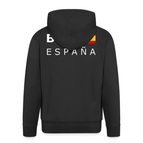 BCN ESPAÑA white-lettered 400 dpi - Men's Premium Hooded Jacket