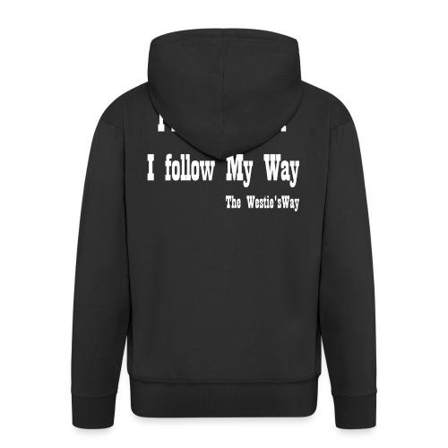 I follow My Way White - Rozpinana bluza męska z kapturem Premium
