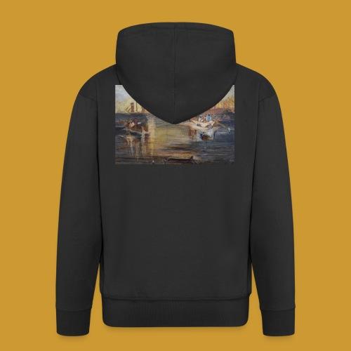 White Fishing - Mark Noble Art - Men's Premium Hooded Jacket