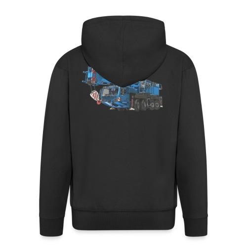 Mobile Crane 4-axle - Blue - Men's Premium Hooded Jacket