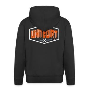 Whitedirt Eco Tee White / Orange - Men's Premium Hooded Jacket