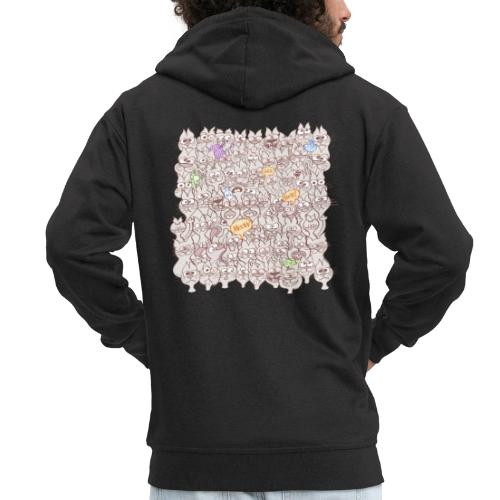 Funny cats posing in a meowing pattern - Men's Premium Hooded Jacket