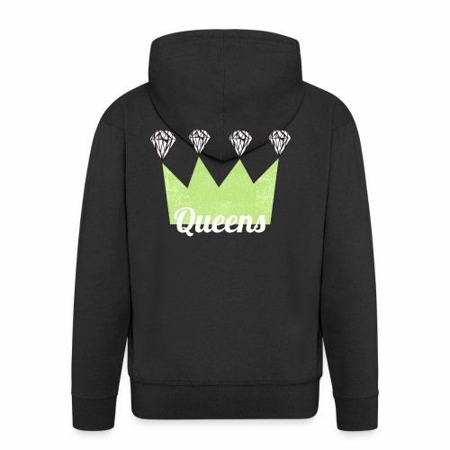 logo_queens_v4_vihr_valk - Miesten premium vetoketjullinen huppari