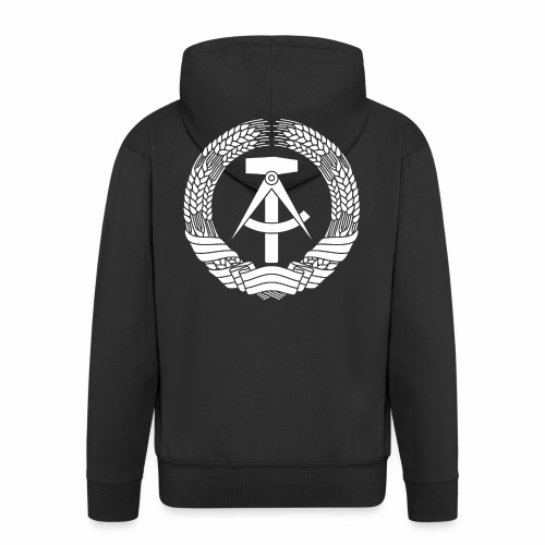 DDR Coat of Arms (white) - Men's Premium Hooded Jacket