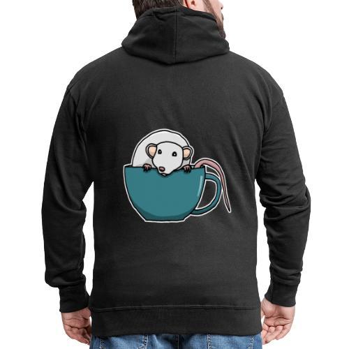 Ratte, Tasse, Tier, süß, Zeichnung, Geschenk - Männer Premium Kapuzenjacke