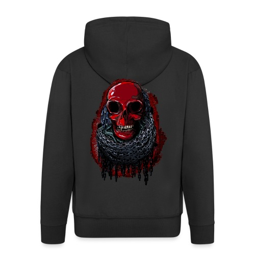 Red Skull in Chains - Men's Premium Hooded Jacket
