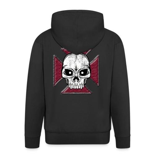 20-07 Iron Cross Skull, pääkallo tekstiilit ym. - Miesten premium vetoketjullinen huppari
