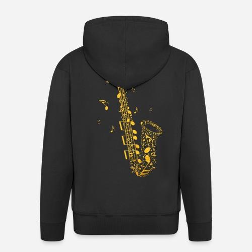 Goldenes Saxophon aus Musiknoten - Männer Premium Kapuzenjacke
