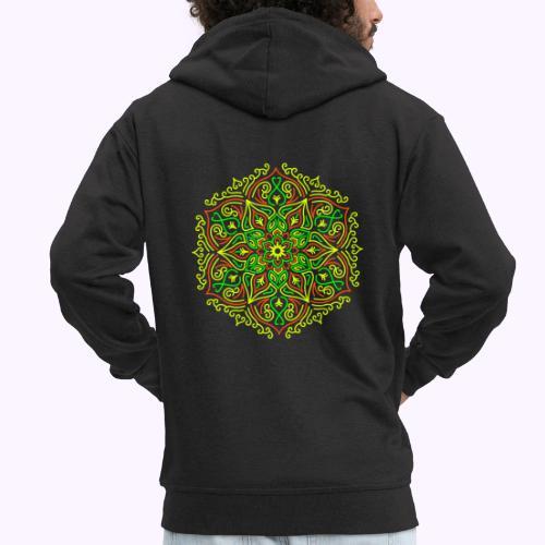 Fire Lotus Mandala - Felpa con zip Premium da uomo