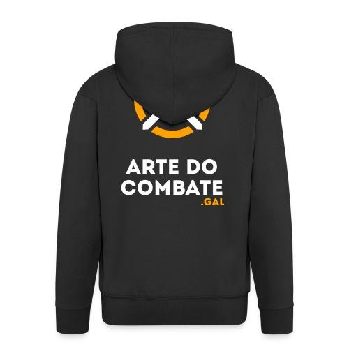 Logo «Arte do Combte» vertical sobre fundo preto - Chaqueta con capucha premium hombre