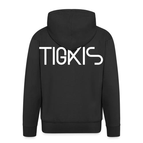 Tigris Vector Text White - Men's Premium Hooded Jacket