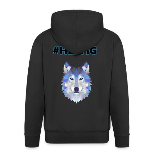Heftiger Wolf (Blau) - Männer Premium Kapuzenjacke