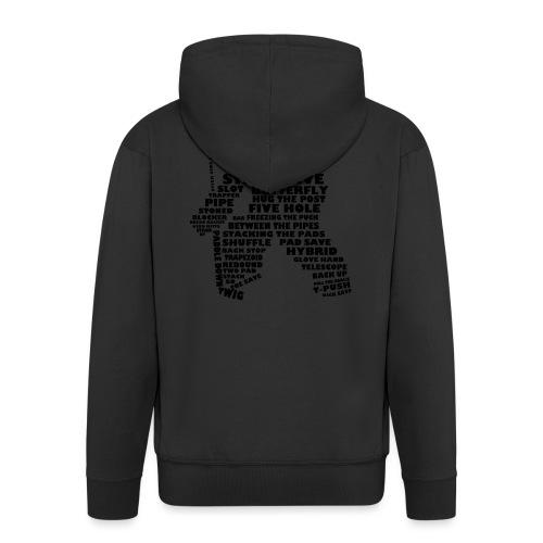 Language of Hockey (Goalie version, black print) - Men's Premium Hooded Jacket