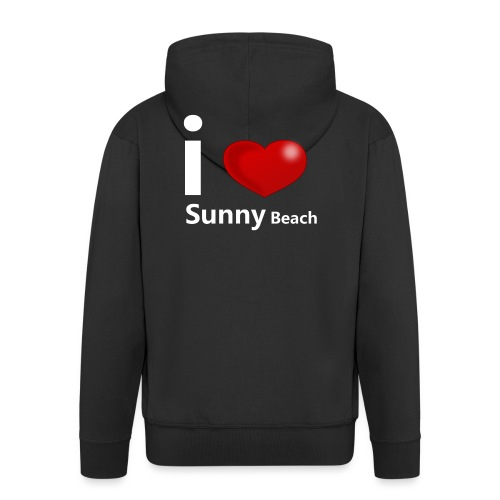 I love Sunny Beach 2 (white print) - Men's Premium Hooded Jacket