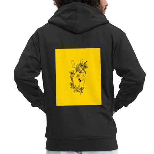 Yellow Peace Symbol Art - Men's Premium Hooded Jacket
