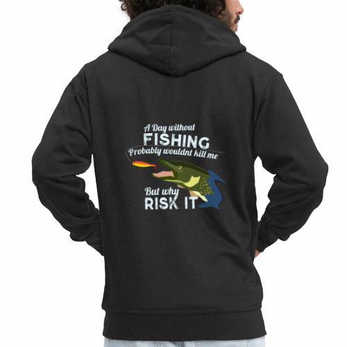 A Day without Fishing Hecht Pike Angeln Fishyworm - Männer Premium Kapuzenjacke