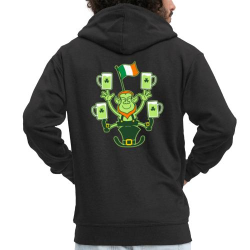 Leprechaun Juggling Beers and Irish Flag - Men's Premium Hooded Jacket