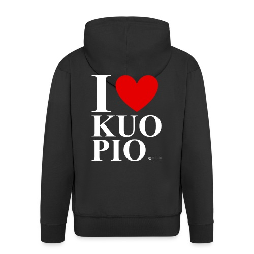 I LOVE KUOPIO ORIGINAL (valkoinen) - Miesten premium vetoketjullinen huppari