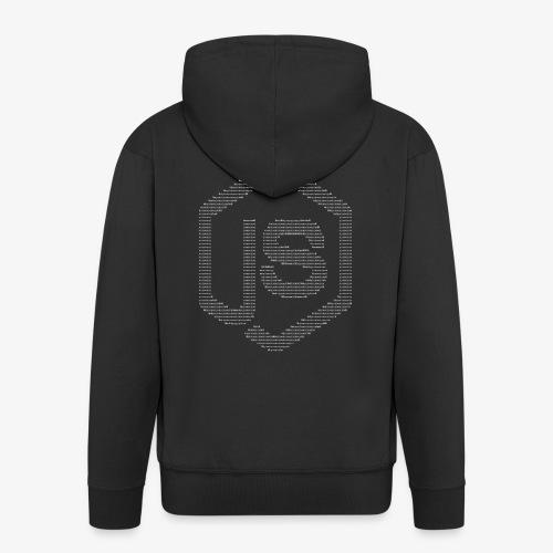 JavaScript Node.js ASCII logo (white) - Men's Premium Hooded Jacket