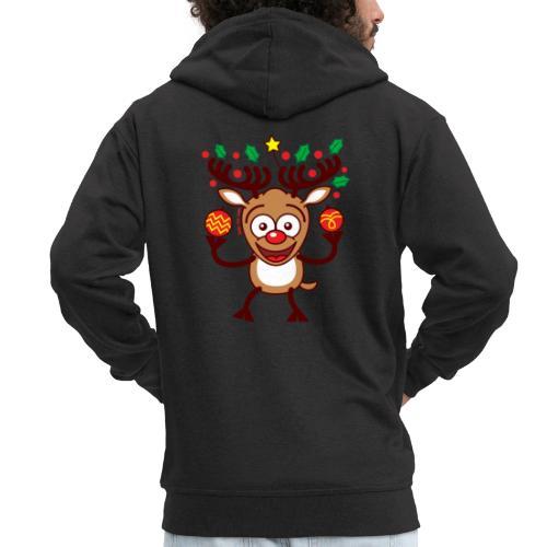 Cool Reindeer Decorating for Christmas - Men's Premium Hooded Jacket