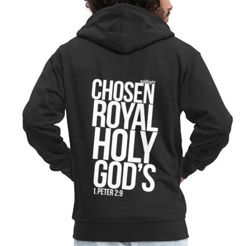 Chosen Royal Holy God's - 1st Peter 2: 9 - Men's Premium Hooded Jacket
