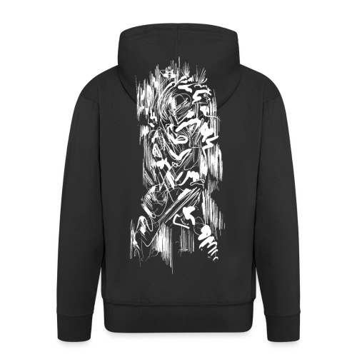 Samurai / White - Abstract Tatoo - Men's Premium Hooded Jacket