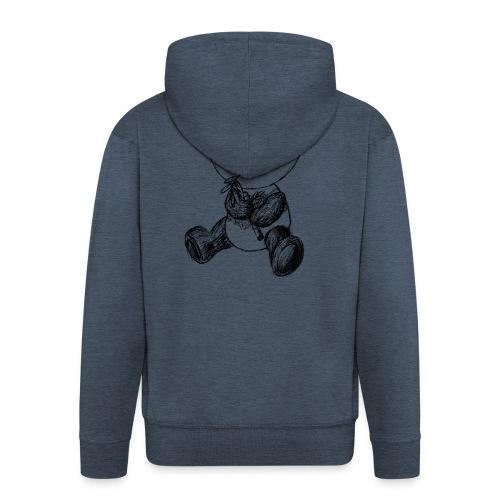 Panda bjørn sort scribblesirii - Herre premium hættejakke