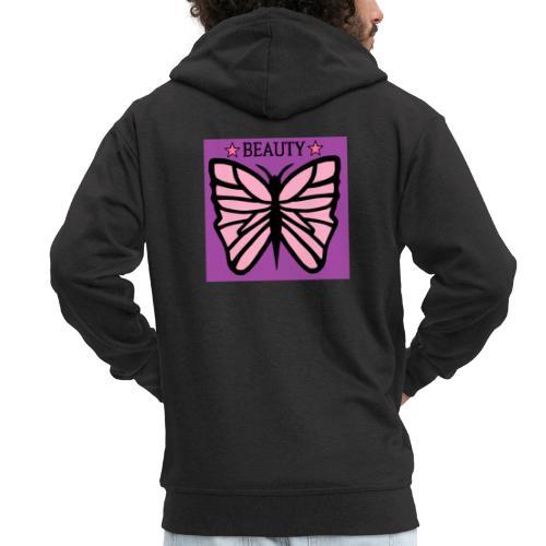 Fjäril beauty med färgerna rosa svart lila - Premium-Luvjacka herr