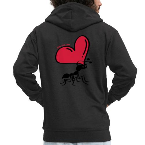 Ant Carrying the Love's Heart - Men's Premium Hooded Jacket
