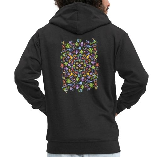 Crazy monsters posing for a colorful pattern - Men's Premium Hooded Jacket