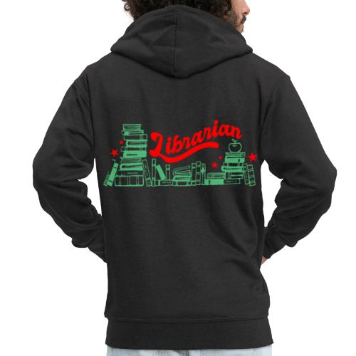 0322 Stack of books Librarian bookshelf - Men's Premium Hooded Jacket