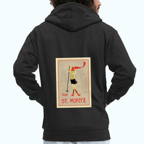 Vintage Retro Reise Plakat St Moritz - Men's Premium Hooded Jacket