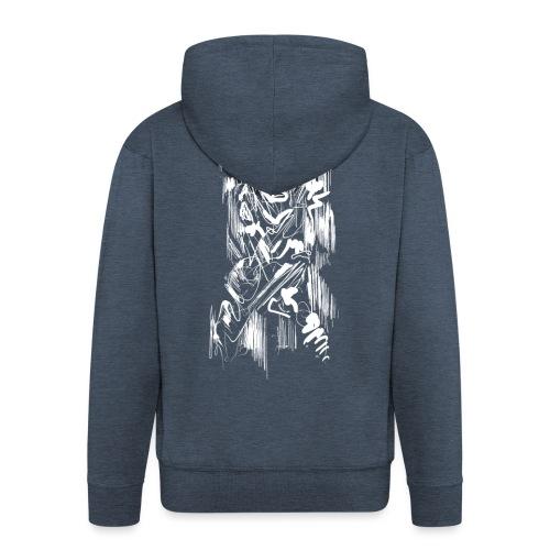 Samurai / White - Abstract Tatoo - Men's Premium Hooded Jacket