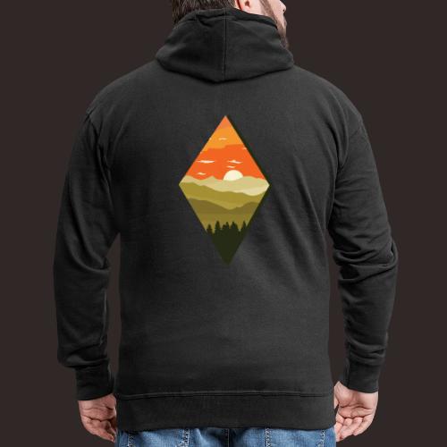 Sonnenuntergang   Wald Dämmerung Raute Baum - Männer Premium Kapuzenjacke
