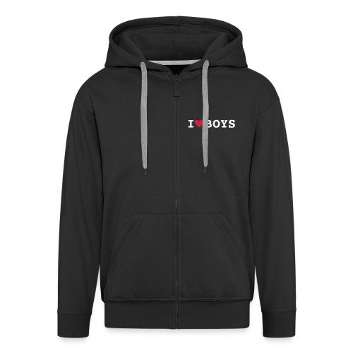 I love boys gay - Men's Premium Hooded Jacket