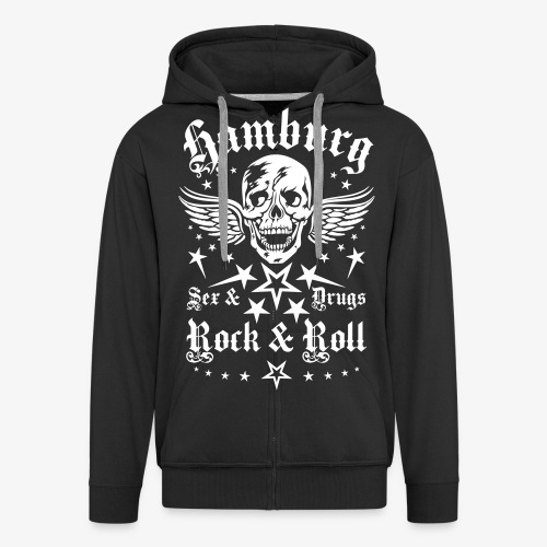 Hamburg Sex Drugs Rock & Roll Skull Wings - Männer Premium Kapuzenjacke