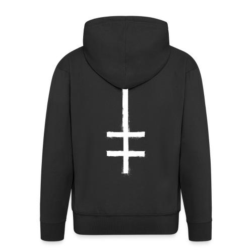 symbol cross upside down 1 - Men's Premium Hooded Jacket