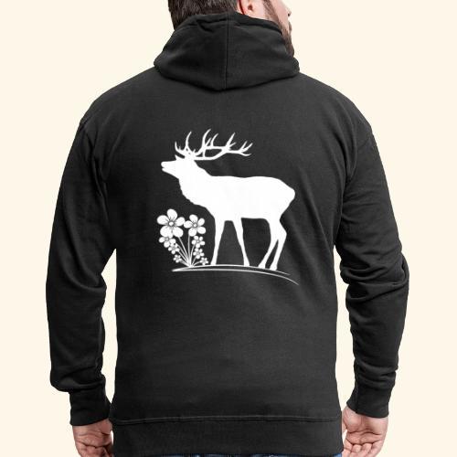 wilder Hirsch mit Blumen, Tiere, Reh, Hirsche - Männer Premium Kapuzenjacke