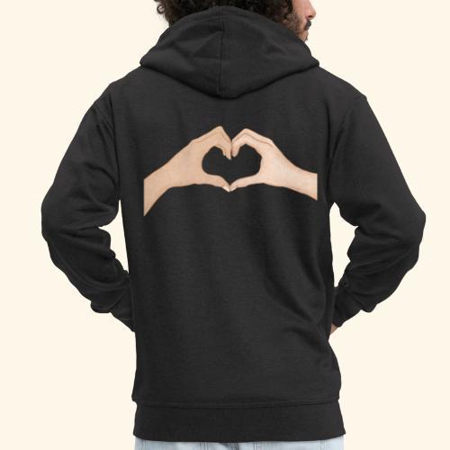 Mains Coeur Amour - Love hands - Veste à capuche Premium Homme