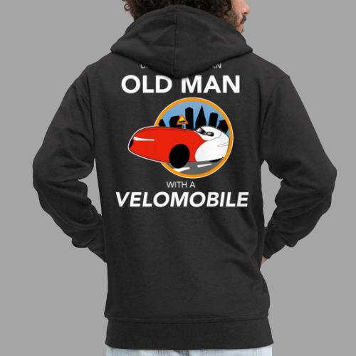 Never underestimate an old man with a velomobile - Miesten premium vetoketjullinen huppari