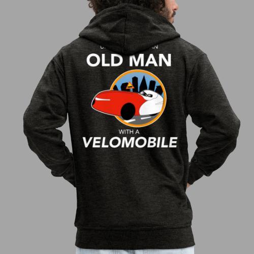 Never underestimate an old man with a velomobile - Miesten premium vetoketjullinen huppari