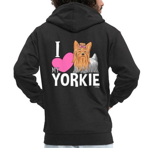I love my Yorkie - Miesten premium vetoketjullinen huppari