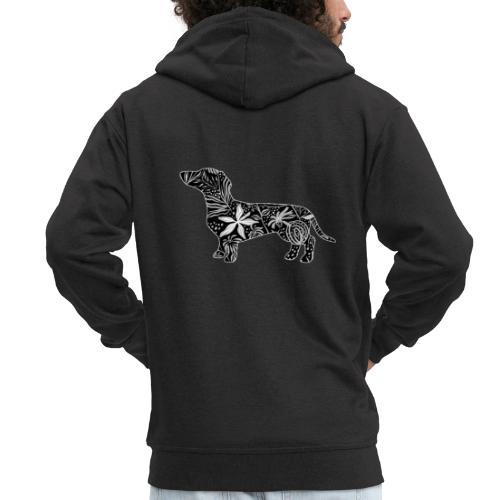 Flower Dachshund - Miesten premium vetoketjullinen huppari
