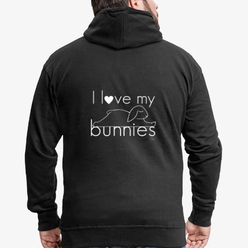 I love my bunnies I - Miesten premium vetoketjullinen huppari