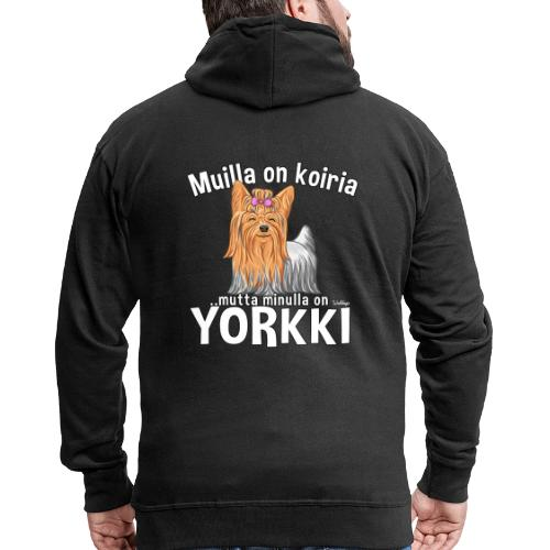Yorkki Koiria - Miesten premium vetoketjullinen huppari